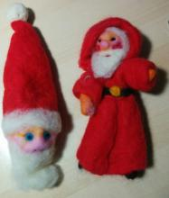 Images of needle-felted Santas